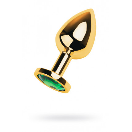 Gold anal plug TOYFA Metal with green round-shaped gem, length 7,8 cm, diameter 2,2-3,5 cm, weight 9