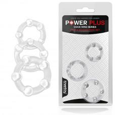 Ерекційні кільця - Triple Beaded Ring Set Clear