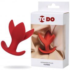 Розширює анальна пробка ToDo By Toyfa Flower, силікон, червона, 9 см, ø 6 см