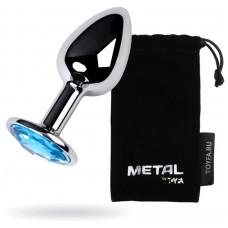 Анальний страз Metal By Toyfa, з кристалом кольору топаз, 7 см,? 2,8 см, 50 г