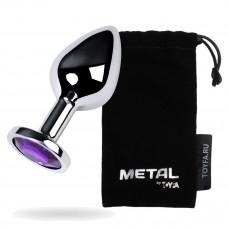 Анальний страз Metal By Toyfa, метал, сріблястий, з кристалом кольору аметист, 8 см, ø 3,4 см, 85 г