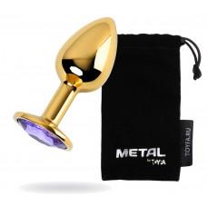 Анальний страз Metal By Toyfa, з кристалом кольору аметист, 7 см,? 2,8 см, 50 г