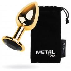 Анальний страз Metal By Toyfa, метал, золотистий, з кристалом кольору турмалін, 7 см, ø 2,8 см, 50 г