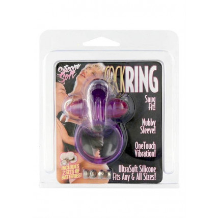 Rabbit Silicone Vibrating Cockring Purple