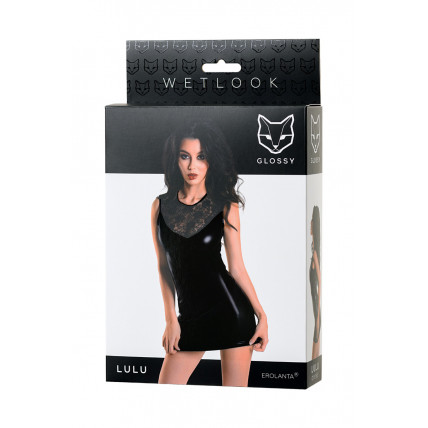 Плаття Glossy Lulu з матеріалу Wetlook, чорне