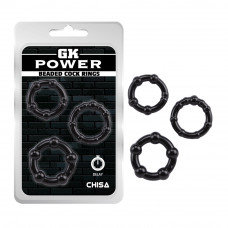Ерекційні кільця - GK Power Beaded Cock Rings Black