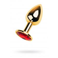 Анальний страз Metal By Toyfa, метал, золотистий, з кристалом кольору рубін, 7 см, ø 2,8 см, 50 г