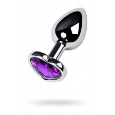 Silver anal plug with purple gem heart-shaped
