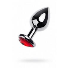 Анальна пробка - Silver anal plug with red gem