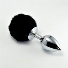 Анальна пробка - Large Silver Plug+Pompon Black